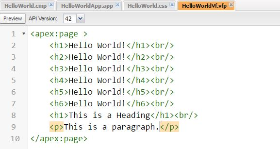 HelloWorld VF page with HTML Headers