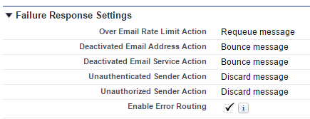 Email Services Failure Configuration