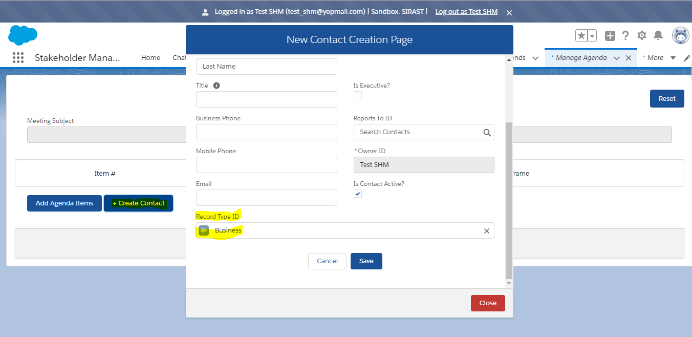 Create Contact Pop Up