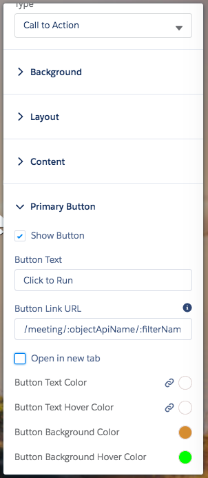 Primary Button Settings