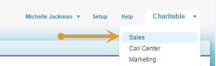 Go to the upper right corner and select the drop down menu. Then select Sales from the drop down menu list.