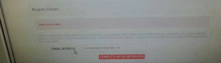 Screen Capture of Limit Exceed Error on community registration