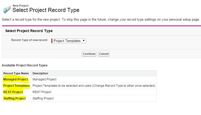 Available record types for Project Object