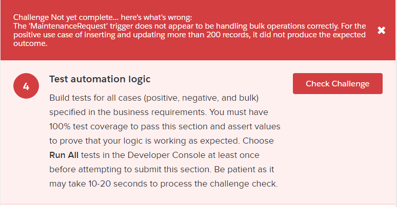 Apex Superbadge challenge 4 error