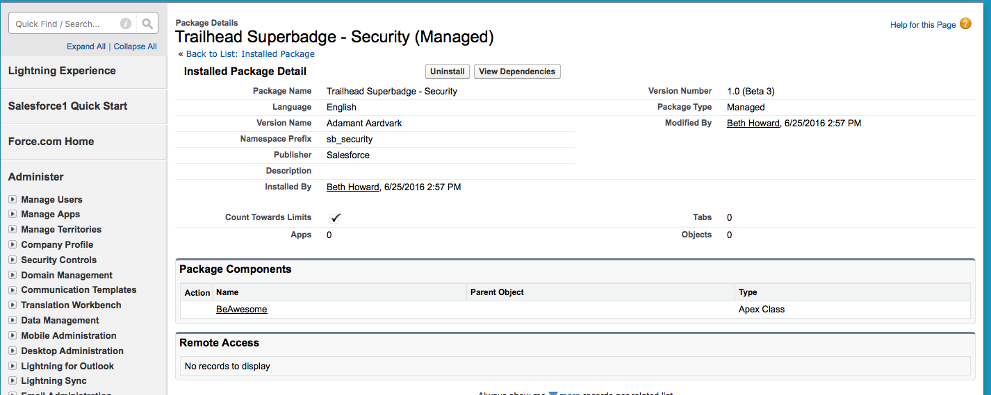 screenshot - security specialist superbadge package, list of components