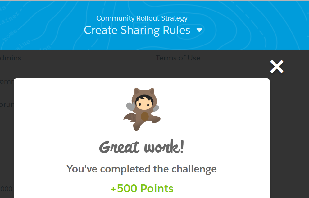 Community Rollout Strategy Create Sharing Rules - Success!