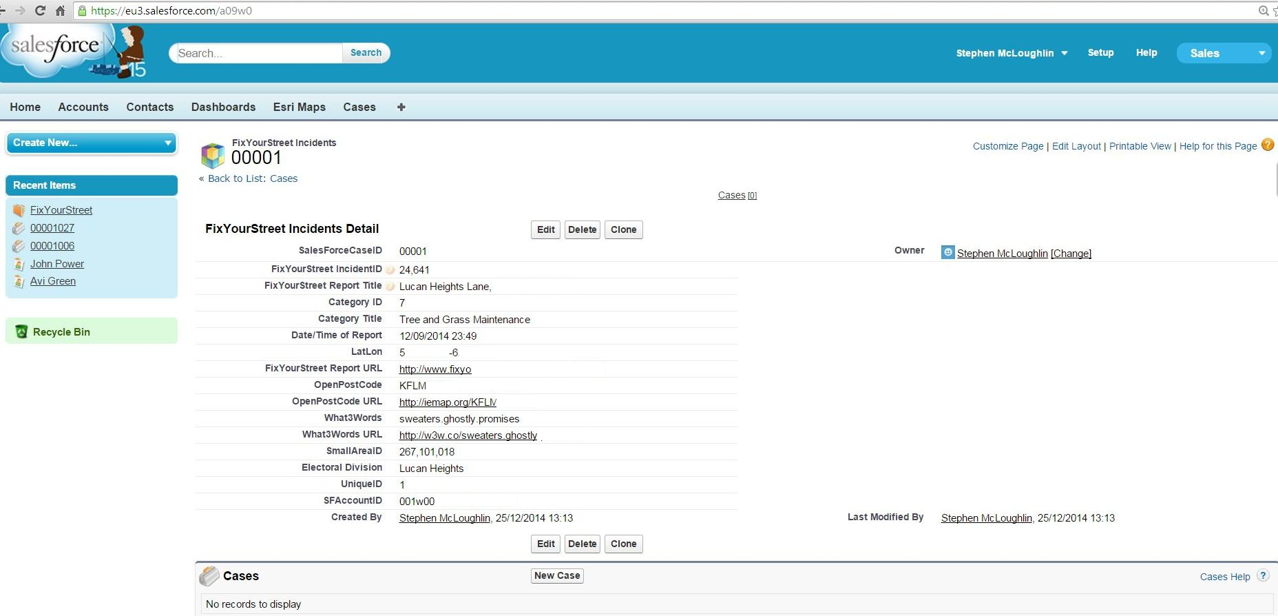Imported incidents viewable in Salesforce using RecordID in URL